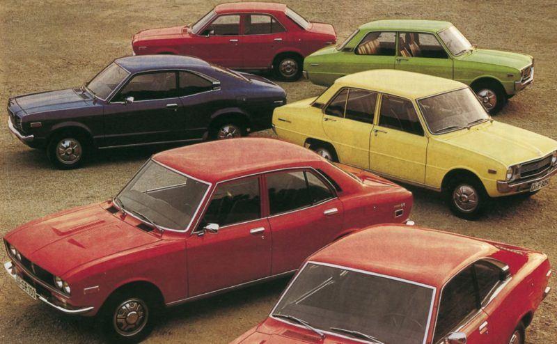 Mazda Modellprogramm zum Vertriebsstart in Deutschland, 1973